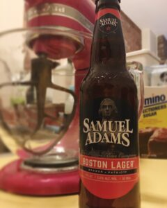 Samuel Adams Boston Lager in front of Kitchen Aid Mixer ready to make Boston Lager Super Bowl Cupcakes