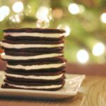 Oreos in front of Christmas tree