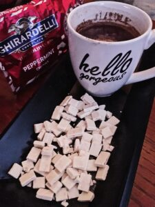 Peppermint Hot Chocolate and Ghirardelli Peppermint Chips