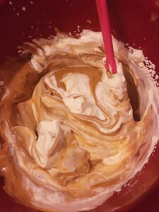 Mixing up the Caramel Irish Whiskey Gold Mousse for Pots O' Gold