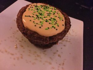 Pot O' Gold Guinness Brownie with Caramel Irish Whiskey mousse with green sprinkles