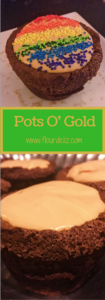 Super simple recipe for Guinness Brownies and Caramel Irish Whiskey mousse to make these adorable Pots O' Gold at www.flourdeliz.com! @flour_de_liz #stpatricksday #stpaddysday #stpats #stpattys #recipe #easyrecipe #guinness #whiskey #irishwhiskey #caramel #flourdeliz