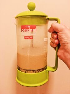 Coffee Milk in the french press