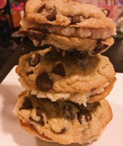 Tower of coffee milk cookie sandwiches