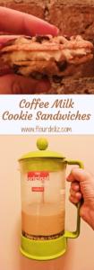 Coffee milk frosting between two of Flour de Liz's Perfectly Chewy Chocolate Chip Cookies! Get the recipe now at www.flourdeliz.com! #coffeemilk #chocolatechipcookie #chocolatechipcookies #coffee #frosting #easyrecipe #quickandeasy #recipeoftheday #frenchpress #frenchpresscoffee #onebowl #coldbrew #coldbrewcoffee #cookiesandmilk #flourdeliz