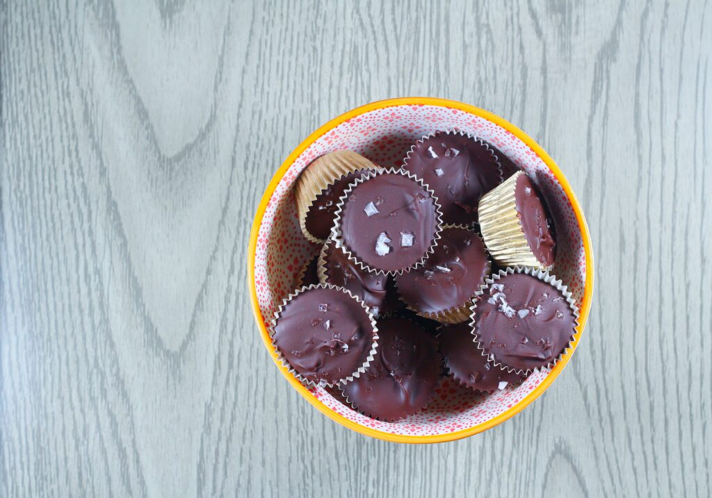 Bowl of Nutella Cups topped with sea salt flakes