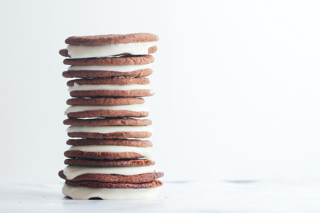 stack of creme egg cookies to the left of the image