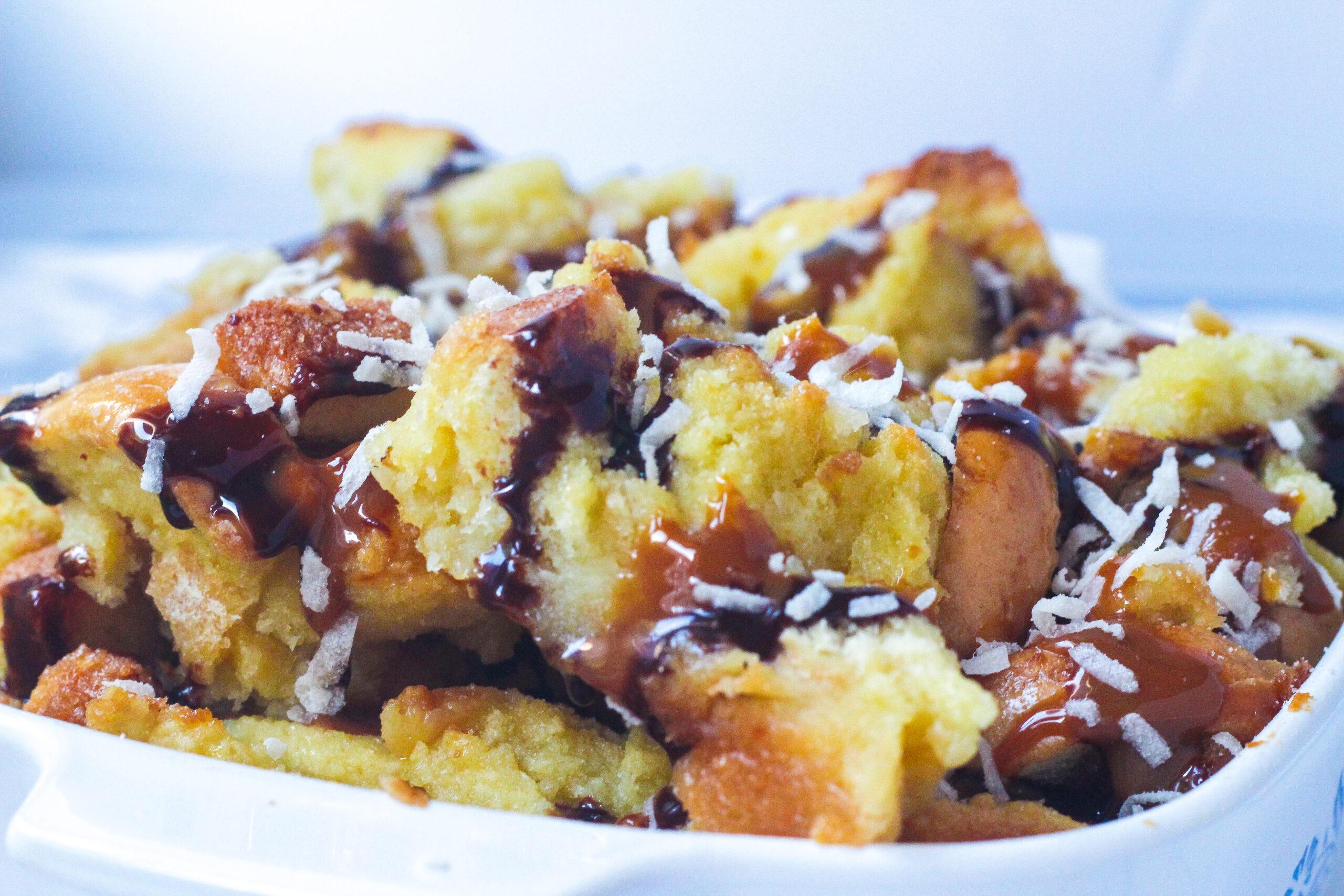 Caramel Chocolate Coconut Bread Pudding