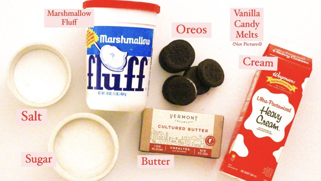 Photo of the ingredients in this recipe, each labeled with red text and a pink background.