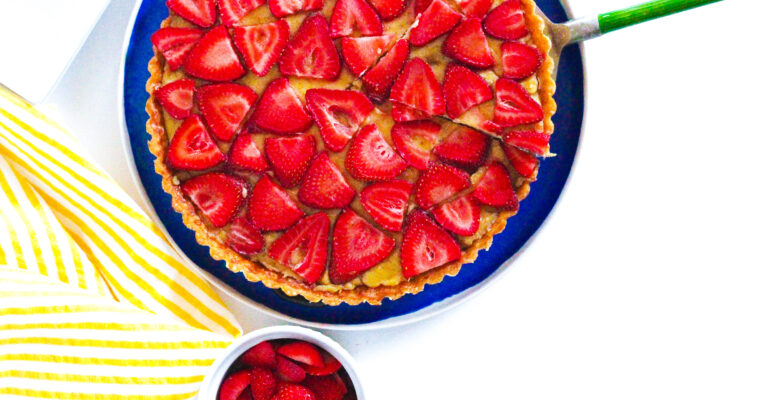 Balsamic Strawberry & Basil Tart
